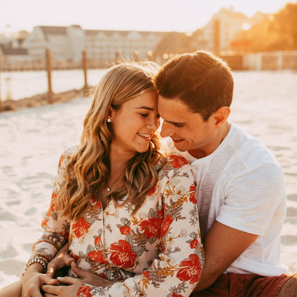 Orlando Couples Photography, couple sitting on beach during sunset