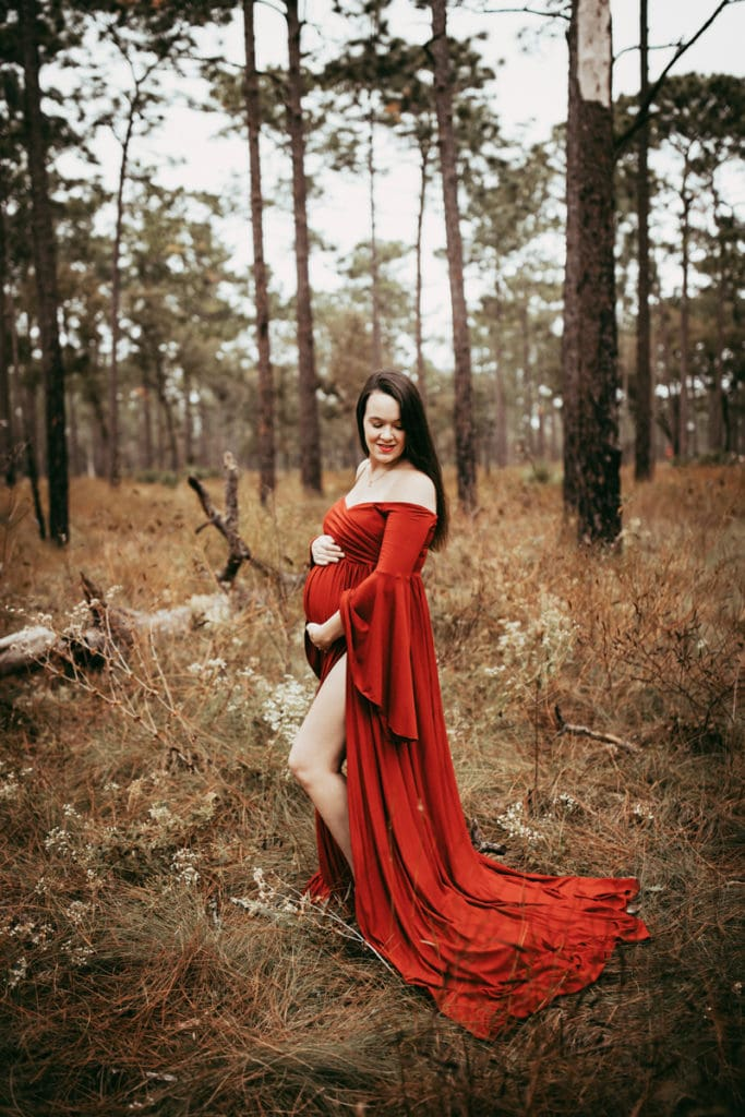 Orlando Maternity Photography, woman in red flowy dress